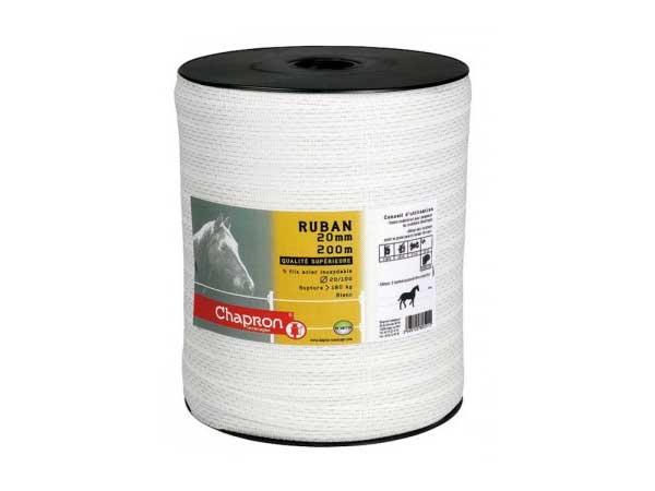 200 m tres de ruban 20 mm blanc pour cloture lectrique chevaux - Ruban cloture electrique ...